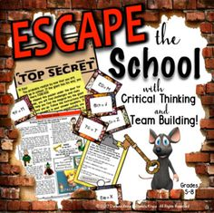 This end of year ESCAPE THE SCHOOL breakout activity will be a fantastic learning adventure for your students! Your kids are locked in school forever...unless they can work in groups to solve a series of FUN comprehension and writing challenges and puzzles!