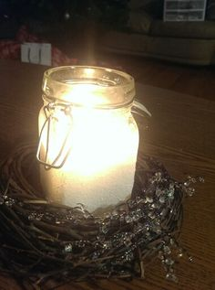 Candle diy christmas snowy frost small decoration jam jar everything was a dollar