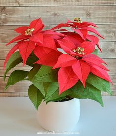 DIY Crepe Paper Poinsettia.  Beautiful!