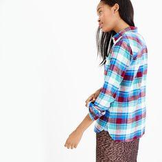 Shrunken boy shirt in gemstone plaid