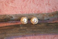 Pearl Stud Earrings  Gold Studs with a Pearl  by MtCarmelJewelry, $37.00