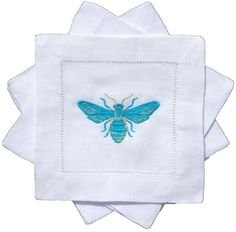 The Well Appointed House BARGAIN BASEMENT ITEM: Set of Four Bees Knees Embroidered Turquoise Butterfly Cocktail Napkins
