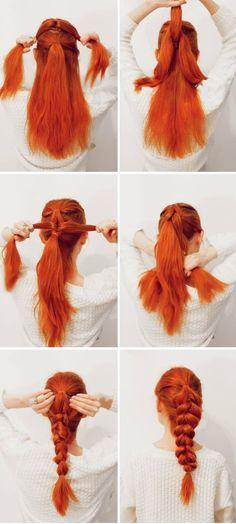 Haar: Easy Pull-Through Braid - Lange Haare Up Hairstyles, Pretty Hairstyles, Braided Hairstyles, Pull Through Braid, Hair Day, Hair Designs, Hair Hacks, Hair Inspiration, Curly Hair Styles