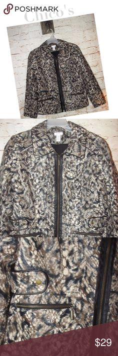 "CHICOS Animal Print Faux Fur Jacket Very nice jacket! Beautiful animal print with faux fur texture. Front zip edged in leather look material. Nice zip front pockets. All zippers  work great and have nice decorative pulls.   Approximate measurements are as follows :   21"" underarm to underarm  18"" waist lying flat  23"" nape to hem  23.5"" sleeve from shoulder seam to cuff   Please take your measurements before buying to ensure proper fit! Chico's Jackets & Coats"