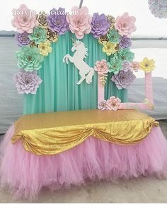 Love the table skirt Unicorn Themed Birthday Party, Unicorn Birthday Parties, Unicorn Party, Birthday Party Decorations, Princess Birthday, Girl Birthday, Baby Showers, Unicorn Baby Shower, Decoration Table