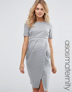 Image 1 of ASOS Maternity Wiggle Dress With Double Layer In Stripe