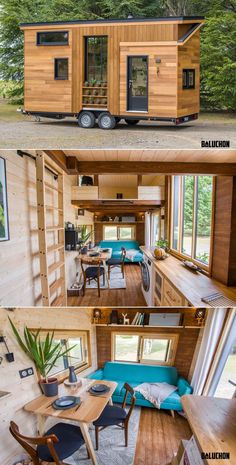 French tiny house builder Baluchon has recently built a tiny house on wheels for a family of three – Céline, her companion and daughter. Titled Astrild tiny house, it is located near Besançon in eastern France. Best Tiny House, Modern Tiny House, Tiny House Cabin, Tiny House Plans, Tiny House On Wheels, Tiny Houses, Small Tiny House, Tiny House Family, Tiny House Bedroom