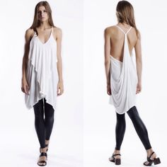 """""""Air"""" Draped Back Ruffle Front Strappy Top Ruffle front strappy  tunic with a draped back. Available in ivory and black. This listing is for the IVORY. Brand new. True to size. NO TRADES DON'T ASK. Bare Anthology Tops Tunics"""