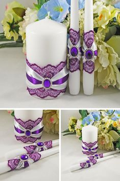 How will you use suspended candles? Wonderful inspiring ideas for weddings, activities, producing astounding centerpieces. Unity Candle Holder, Mason Jar Candle Holders, Candle Art, Large Candles, Pillar Candles, Purple Wedding, Wedding White, Wedding Unity Candles, Wedding Crafts
