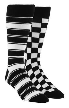 91d9ba3c898 Black and White Men s Dress Socks Gift Box 2 Pack - Statement Sockwear