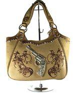 Concealed Carry Handbag Purse Montana West Embroidery & Silver Gun Accent- Camel  $74.99 + Free Shipping! wantedwardrobe.com wantedwardrobe.net #CCW #fashion #handbags
