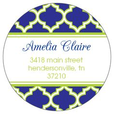 Navy and Lime Greek Pattern Round Address Labels