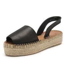 Ibizas Black Platform Espadrilles Leather