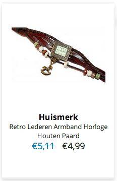 Retro Lederen Armband Horloge Houten Paard € 4,99 #Sale #Korting #Actie #Aanbieding Klik op www.OVStore.nl/nl/collection/offers