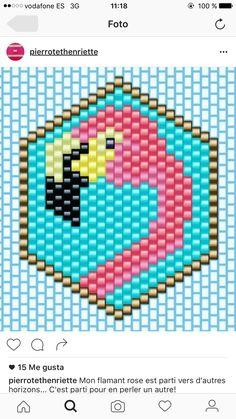 Beading Projects, Beading Tutorials, Peyote Stitch Tutorial, Flamingo Craft, Miyuki Beads, Native Beading Patterns, Motifs Perler, Beaded Banners, Iron Beads