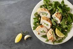 Foster Farms Recipe: Lemony Chicken, Asparagus and Goat Cheese Roulades with Wilted Spinach and Arugula