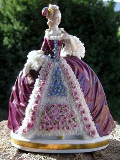 Purple Lady Figurines | Large Antique German Porcelain Dresden Lace Figurine w 50 Red Roses ...
