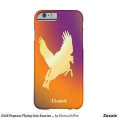 Gold Pegasus Flying Into Sunrise Phone Case Barely There iPhone 6 Case
