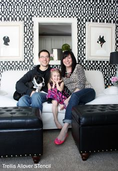 Love the bold black and white Trellis Stencil design in the living room! By Kelle and Nick, recently featured on a Home Tour for Apartment Therapy  #stencils  www.cuttingedgestencils.com
