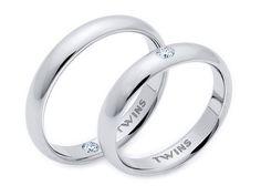 Alianzas Twins en platino y diamantes.