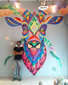 coloursxart Venado Azul by Farid Rueda Located in MexicoCiudad de México, 2016 is part of Street art - Graffiti Art, Graffiti Quotes, Art Quotes, Art And Illustration, Urbane Kunst, Grafiti, Urban Street Art, Mural Wall Art, Murals