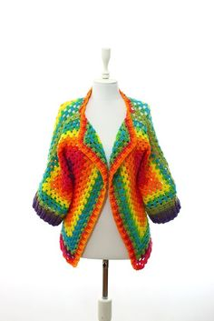 Granny Square Cardigan Jacket Planned Pooling Crochet