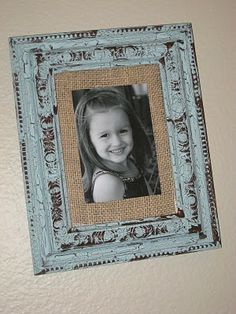 DIY picture frame. I like the fabric accent.http://www.shanty-2-chic.com/2010/01/fabric-mat-your-photos.html