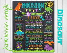 Dinosaur First Birthday Chalkboard Poster  Dino Birthday