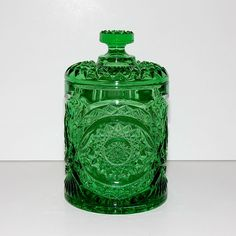 Vintage Imperial Glass Ohio Hobstar Pattern Green Glass Biscuit Jar