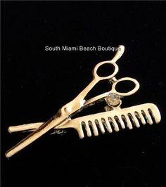 Stylist Crystal Pin Brooch Scissors Comb Hair Dresser Graduation Gift Silver #Unbranded