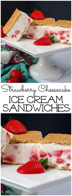 These Strawberry Cheesecake Ice Cream Sandwiches are made with Greek yogurt and fresh strawberries! They are easy to make and everyone will love them! Cheesecake Ice Cream, Strawberry Cheesecake, Cheesecake Recipes, Dessert Recipes, Parfait Recipes, Yogurt Recipes, Frozen Desserts, Frozen Treats, Summer Desserts