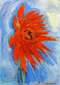 Piet Mondrian, Crisantemo rojo sobre fondo azul, hacia 1909-10. Óleo sobre lienzo, 41.9 x 30.5 cm, Colección particular