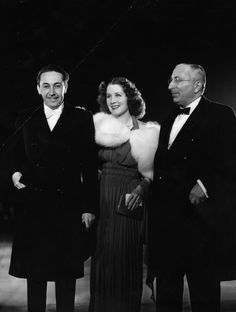 """Irving Thalberg, wife Norma Shearer, MGM studio boss L.B. Mayer at the 1936 premiere of """"The Great Zieglfield."""""""