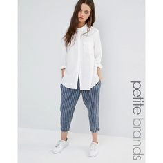 Noisy May Petite Pinstripe Pant (40 AUD) ❤ liked on Polyvore featuring pants, capris, blue, petite, petite pants, blue trousers, tapered pants, petite trousers and blue pants