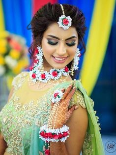 Stunning Floral Jewellery Designs for every Bride-to-be! Flower Jewellery For Mehndi, Flower Jewelry, Indiana, Mehndi Function, Haldi Function, Indian Wedding Photography Poses, Photography Couples, Mehndi Dress, Haldi Ceremony