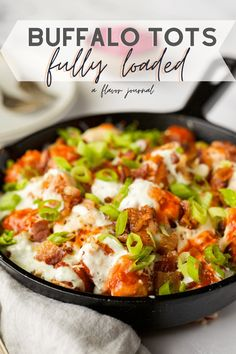 Buffalo tots LOADED with cheese, ranch or blue cheese dressing, crispy chopped bacon, green onions, and pickled red onions! Easy to make and a huge crowd pleaser. #buffalotots #loadedtots #tatertots #tots #partyfood #buffalosauce via @aflavorjournal Best Appetizer Recipes, Tailgating Recipes, Best Dinner Recipes, Best Appetizers, Lunch Recipes, Beef Recipes, Cooking Recipes, Delicious Recipes, Cooking Tips