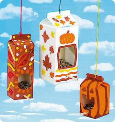Upcycle milk cartons to bird feeders