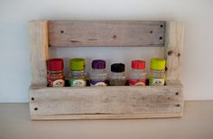 #Spice #Rack made from #reclaimed #wood. Can be fixed to a wall or cupboard door, or kept portable with its convenient carry handle. #Recycled  http://reclaimdesign.weebly.com