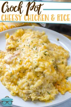Crock Pot Cheesy Chicken and Rice is an easy, classic family favorite made with chicken breasts, cheddar cheese, diced onions and seasoning. Crockpot Rice Recipes, Chicken And Rice Crockpot, Slow Cooker Recipes, Casserole Recipes, Cooking Recipes, Crockpot Dishes, Cheesy Chicken Rice Casserole, Cheesy Chicken Recipes, Keto Recipes