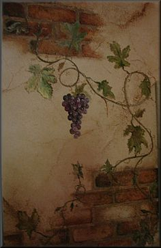 grapevine murals | Hand Painted Grapevine
