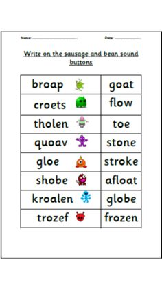 Draw the sound buttons - oa ow oe o-e family Kids Travel Activities, Phonics Activities, Phase 5 Sounds, Alien Words, Teaching Resources, Teaching Ideas, Primary English, Jolly Phonics, Name Writing