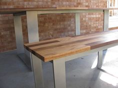 Custom Made Dining Table And Matching Bench - Mixed Hardwood Top With Powder-Coated Steel Base