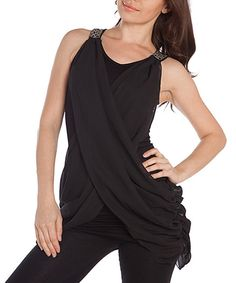 Black Ruched Sidetail Tank by Buy in America #zulily #zulilyfinds