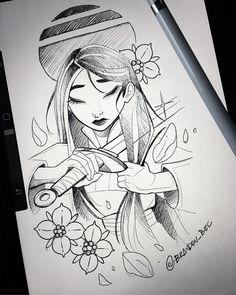 64 Best Ideas Tattoo Disney Mulan Beautiful, - La mejor imagen sobre diy crafts para tu gusto Estás buscando algo y no has podido alcanzar la im - Disney Princess Drawings, Disney Sketches, Disney Drawings, Disney Character Sketches, Arte Disney, Disney Fan Art, Punk Disney, Art Drawings Sketches, Cute Drawings