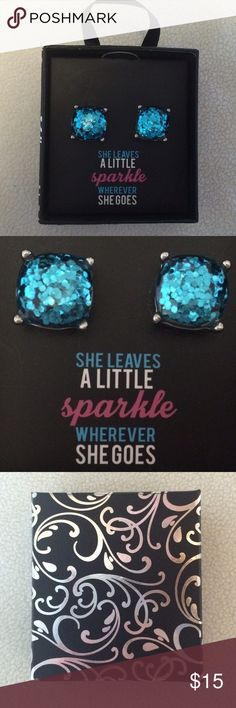 """Blue/Turquoise Glitter Stud Earrings New retail earrings. They are half an inch tall and blue/turquoise glitter. They come in a cute gift box that says """"She leaves a little sparkle wherever she goes"""". Jewelry Earrings"""