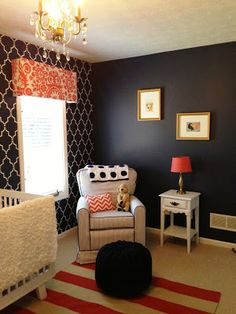 Navy, White and Coral Nursery