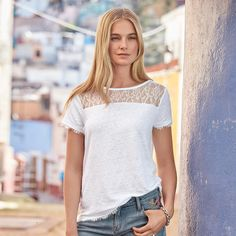 """NATURAL CHARMS TEE--The perfect, linen tee dressed up with a lace yoke and lace trim at sleeves and hem. Machine wash. Portugal. Exclusive. Sizes XS (2), S (4 to 6), M (8 to 10), L (12 to 14), XL (16). Approx. 25""""L."""