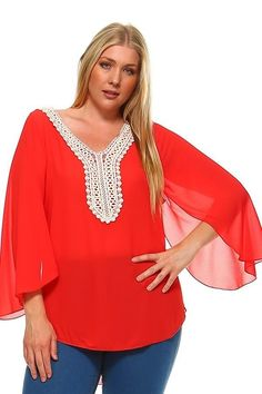 Plus Size Polyester Bell Sleeves V-Neck Embroidered Top Bell Sleeves, Bell Sleeve Top, Plus Size Women's Tops, High Low, V Neck, Crochet, Collection, Fashion, Moda
