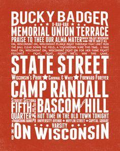 Wisconsin Badger Subway Wall Art Instant by LittleBirdieDigital, $18.00