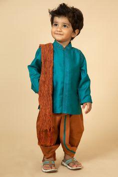 Silk Jute kurta and dhoti embellished with kashmiri embroidery Baby Boy Dress, Baby Boy Outfits, Kids Outfits, Twin Outfits, Kids Indian Wear, Kids Ethnic Wear, Baby Boy Fashion, Kids Fashion, Men's Fashion